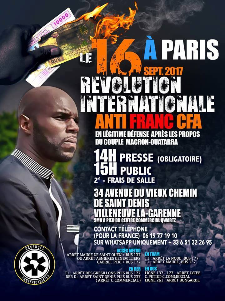URPANAF à Paris samedi 16 septembre pour «la révolution internationale anti-cfa»