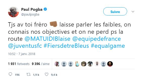 Paul Pogba sur Twitter