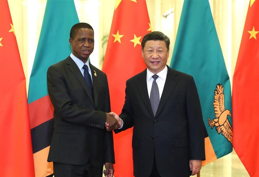 Le président zambien Edgar Lungu et son homologue chinois Xi Jinping au Sommet de Beijing 2018 du Forum sur la Coopération sino-africaine