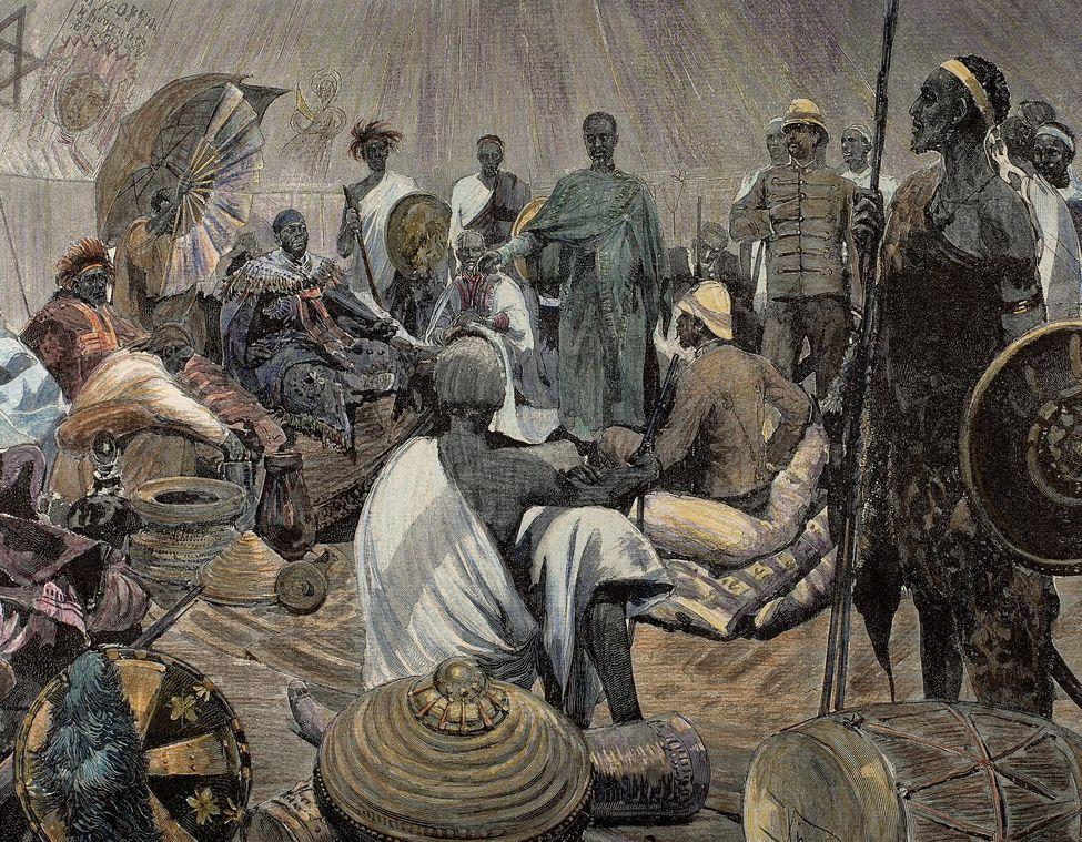 Gravure d'un chef ashanti en pourparlers avec un Britannique. Photo Bridgeman