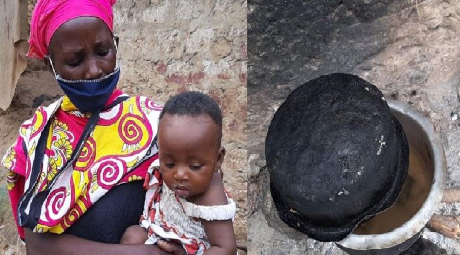 Sans ressources, une maman cuisine des pierres pour ses enfants