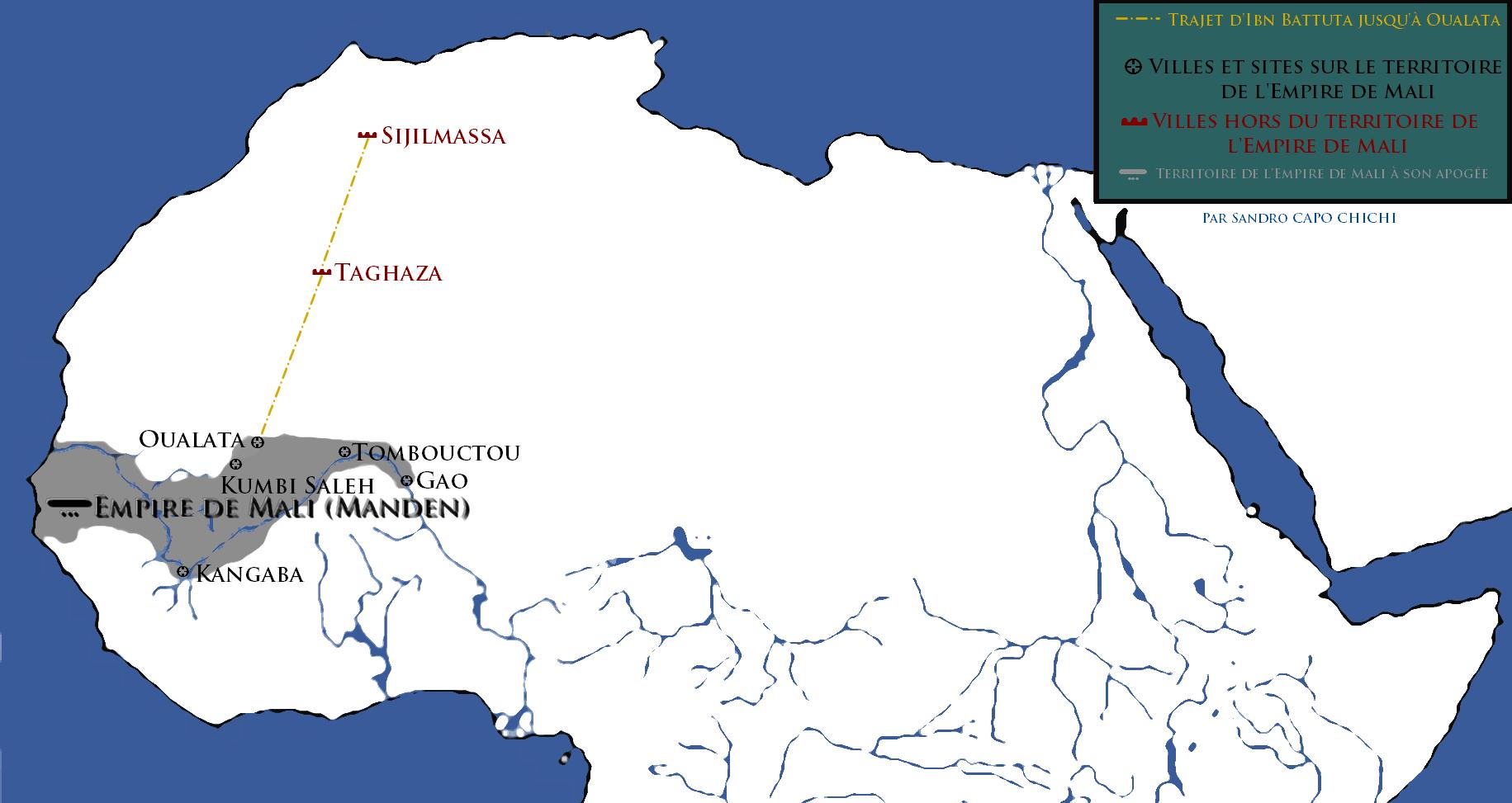 Le statut de la femme dans l'Empire de Mali : Carte représentant l'Empire de Mali à son apogée et le trajet d'Ibn Battuta de Sijlmassa jusqu'à Oualata